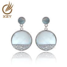 925 silver classical pins earrings with MOP and rhodium plated