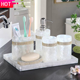 2020 new bathroom products african 6 piece set resin pearl white bathroom set luxury