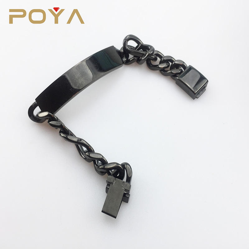 Hot Sale IP Black Plated Stainless Steel Men's Engravable Heavy Bracelet on Figaro Chain