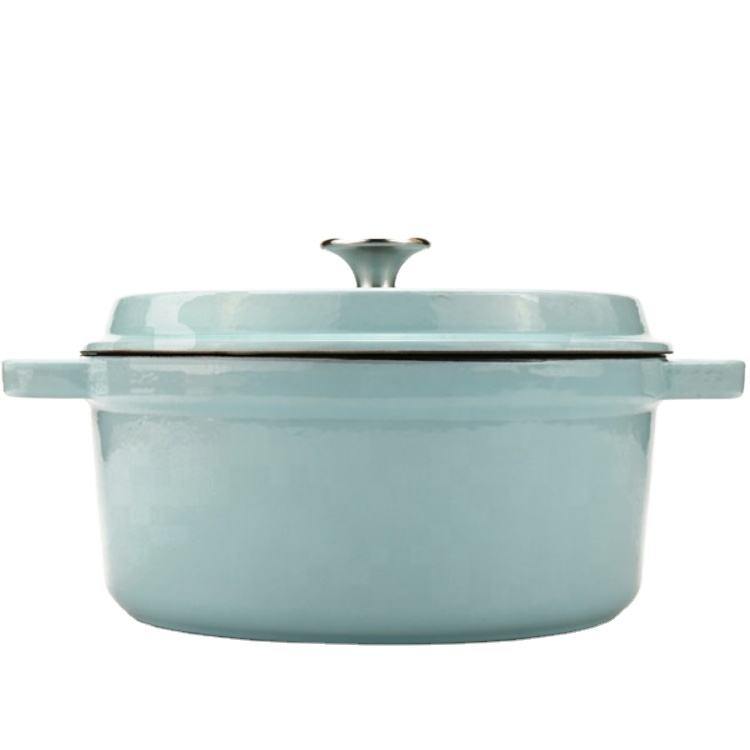 Sky blue enamel cast iron stew pot soup pot and casserole new enamel cookware set modern enamelware manufacturer price customize