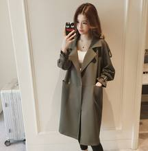 Autumn 2020 fat lady loose-fitting overcoat Korean long - style suit collar trench coat