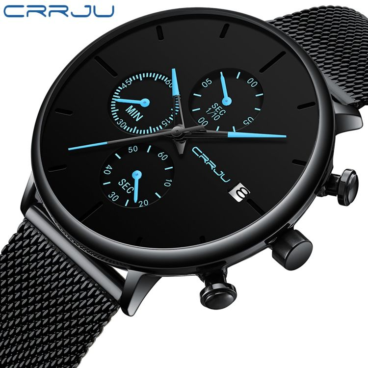 Crrju 2268 Quartz Luxury Watch Distributors Fashion Mesh Bracelet Watch Man Sport Wrist Watch