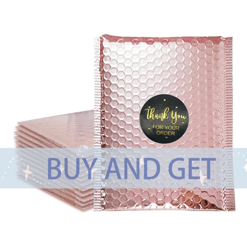 Metallic Foil Rose Gold Custom Logo Padded Bubble Envelopes Mailing Bags Poly Bubble Mailer