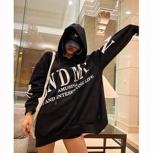 2020 high quality custom long length cool girl oversized hoodie dress hooded printing hoodie oversized women