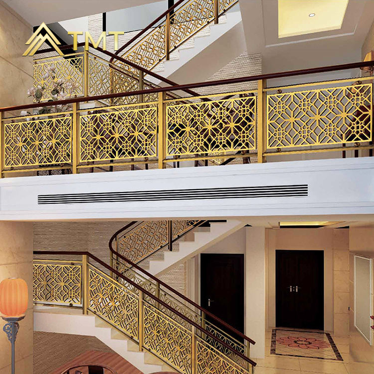 TMT custom made gold plated stair railings wholesale ss decorative balusters for stair interior modern metal railing