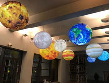 LED lighting inflatable planets, hanging solar system nine planet balls for decoration