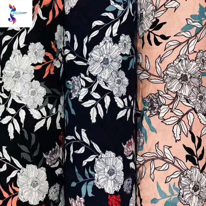 Fashion design cheap price rayon print fabric stocklot fabric for shaoxing textile