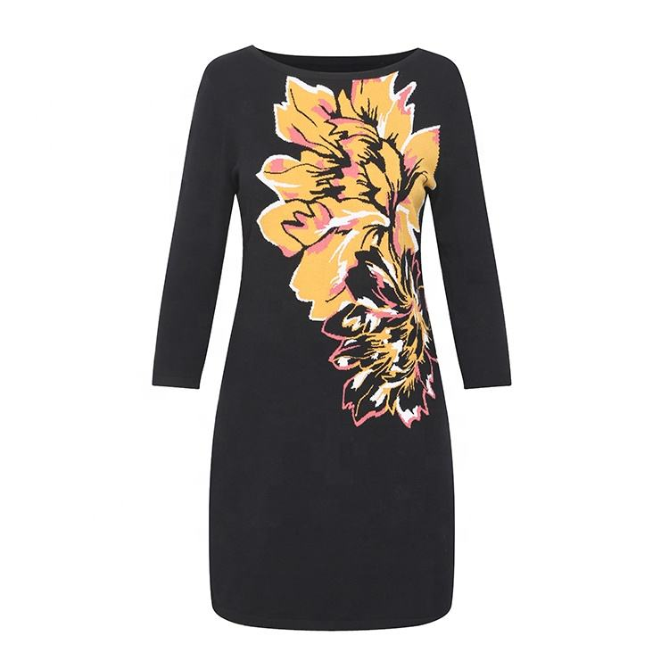 Long multicolor flower dresses intasia custom printed pullover sweater dress