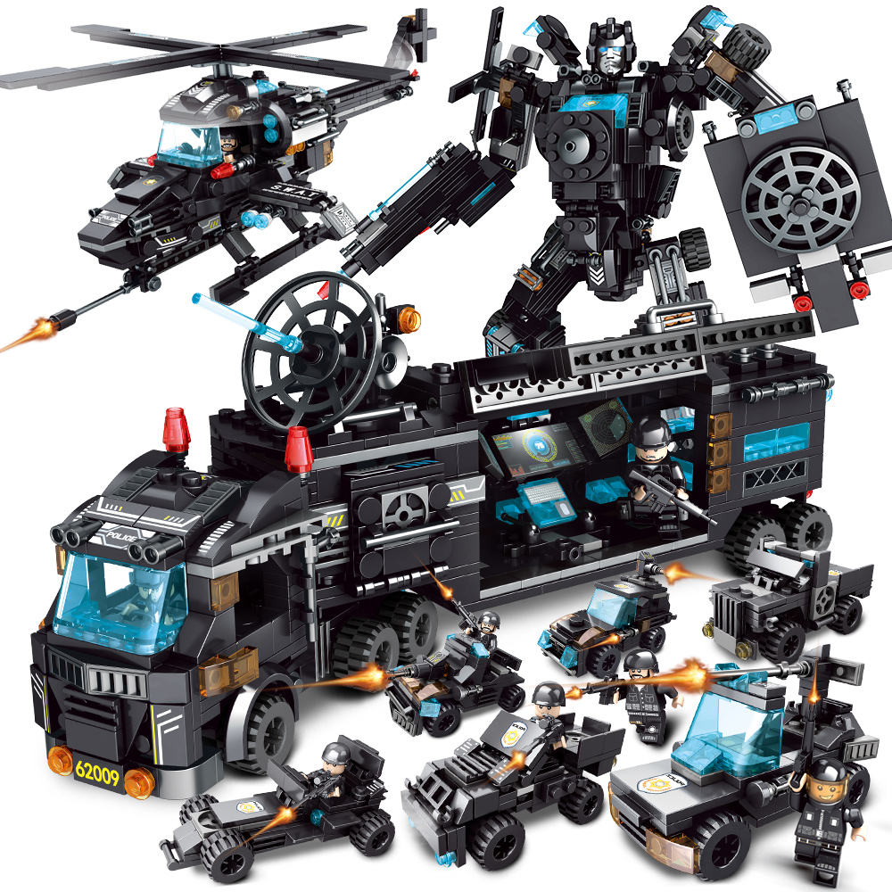 8 in 3 legoinglys city police for city swat series black ABS 820 pcs 35 styles block toys set