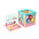 Multi-function wooden activity cube bead maze toys educational shape match bead maze box for children