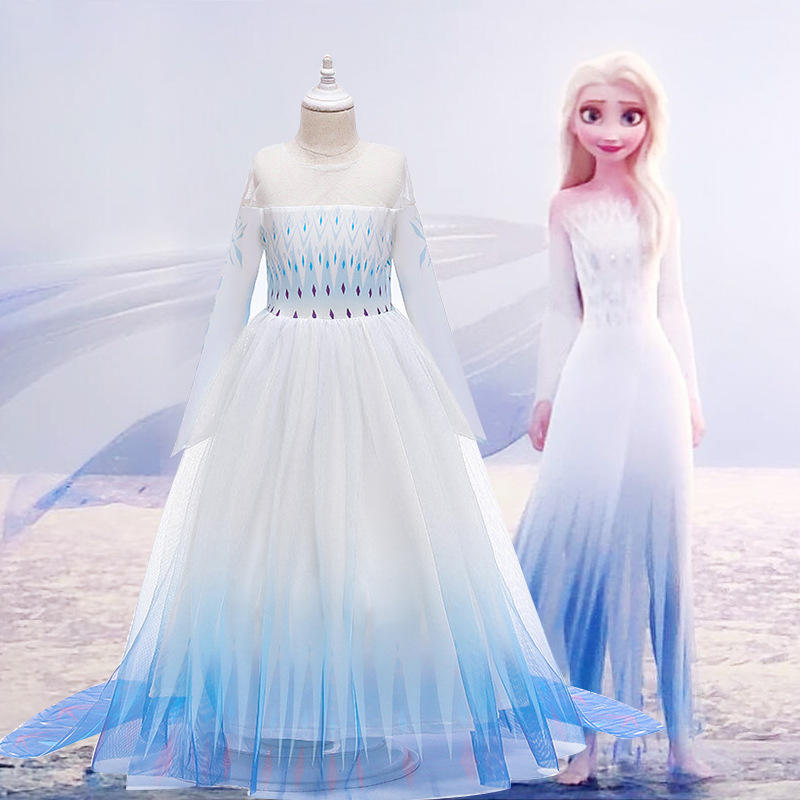 Good Quality Frozen Elsa Dress Frozen 2 Girls Dress with Removable cloak BX1673