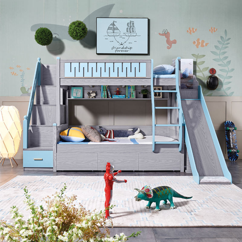 ash wood kids bunk bed Children furniture bunk bed with slide
