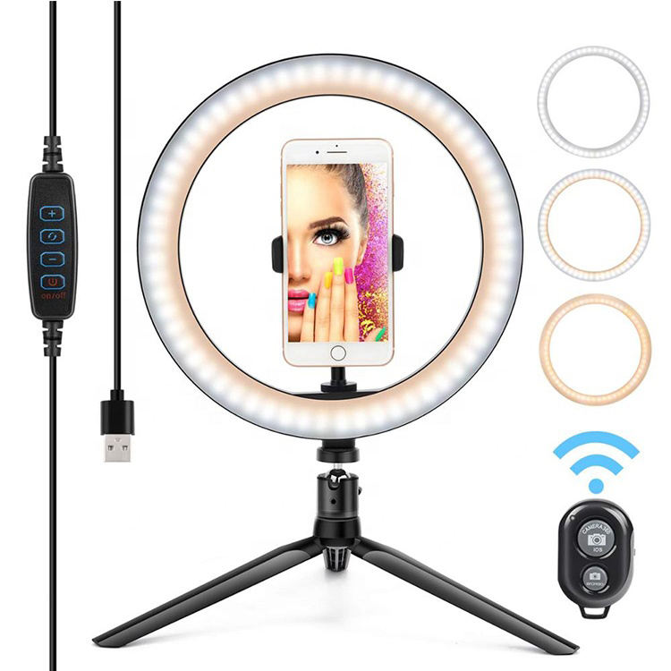Wholesale Beauty Portable pink mini photo Studio fill light makeup Photographic light live webcast selfie led phone holder