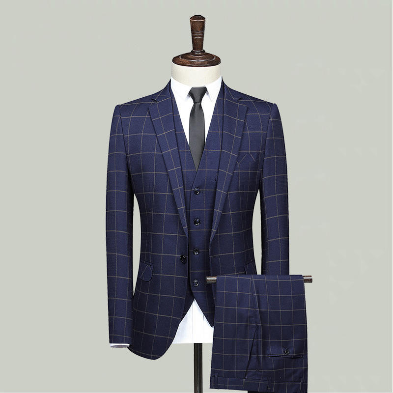 Blue Jacket Vest Pants Men's Fashion Boutique Plaid Wedding Dress Suit Three-piece Male Formal Wedding Groom Suits
