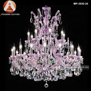Italian Style Lilac Violet Crystal Chandelier With Clear Glass Crystals Droplets