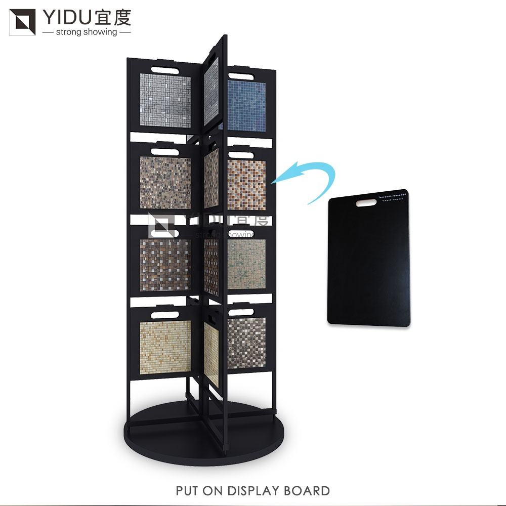 China factory floor sliding ceramic stand tilestone plats color mosaic quartz tile stone display rack