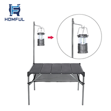 HOMFUL  Portable Adjustable Outdoor Picnic Table Aluminum Camping Folding Table