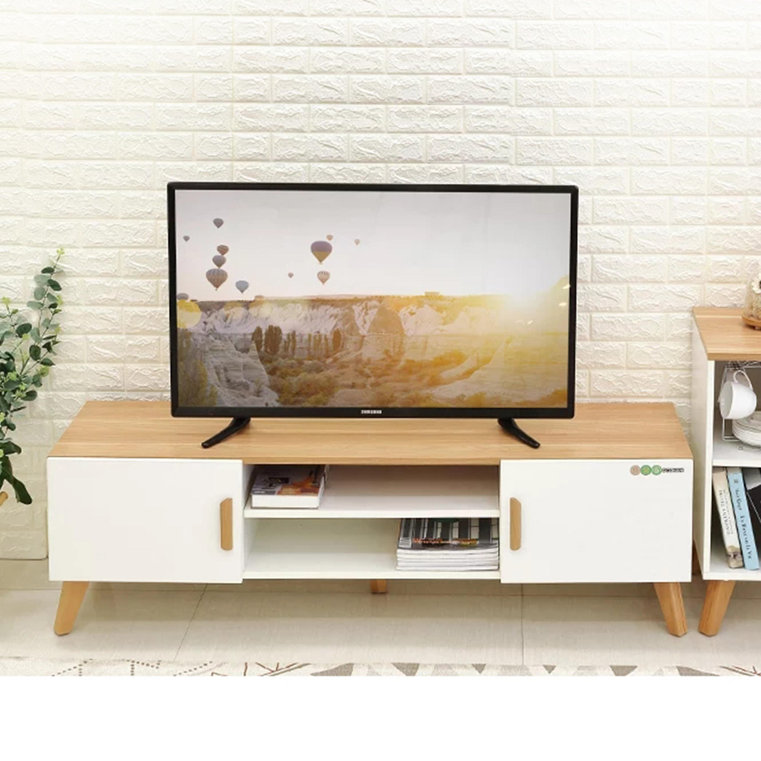 Northern europe style modern living room white wooden TV stand with 2 doors
