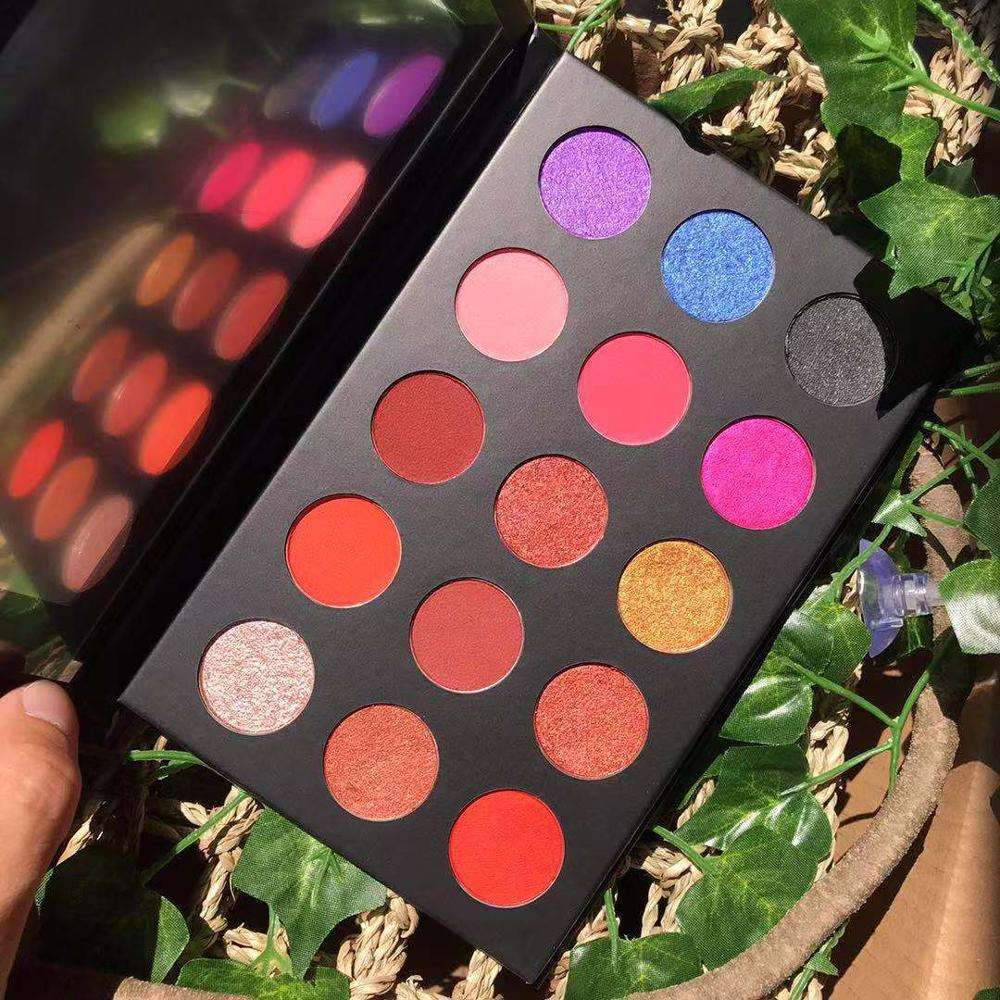 shimmer colorful red costom cosmetics high pigment matte wholesale makeup private label eye shadow eyeshadow palette