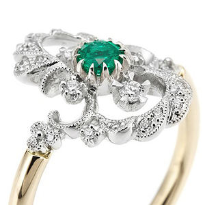 Custom European Retro Palace Style Carved Openwork 18k gold emerald ring Exquisite Rings jewelry For Women