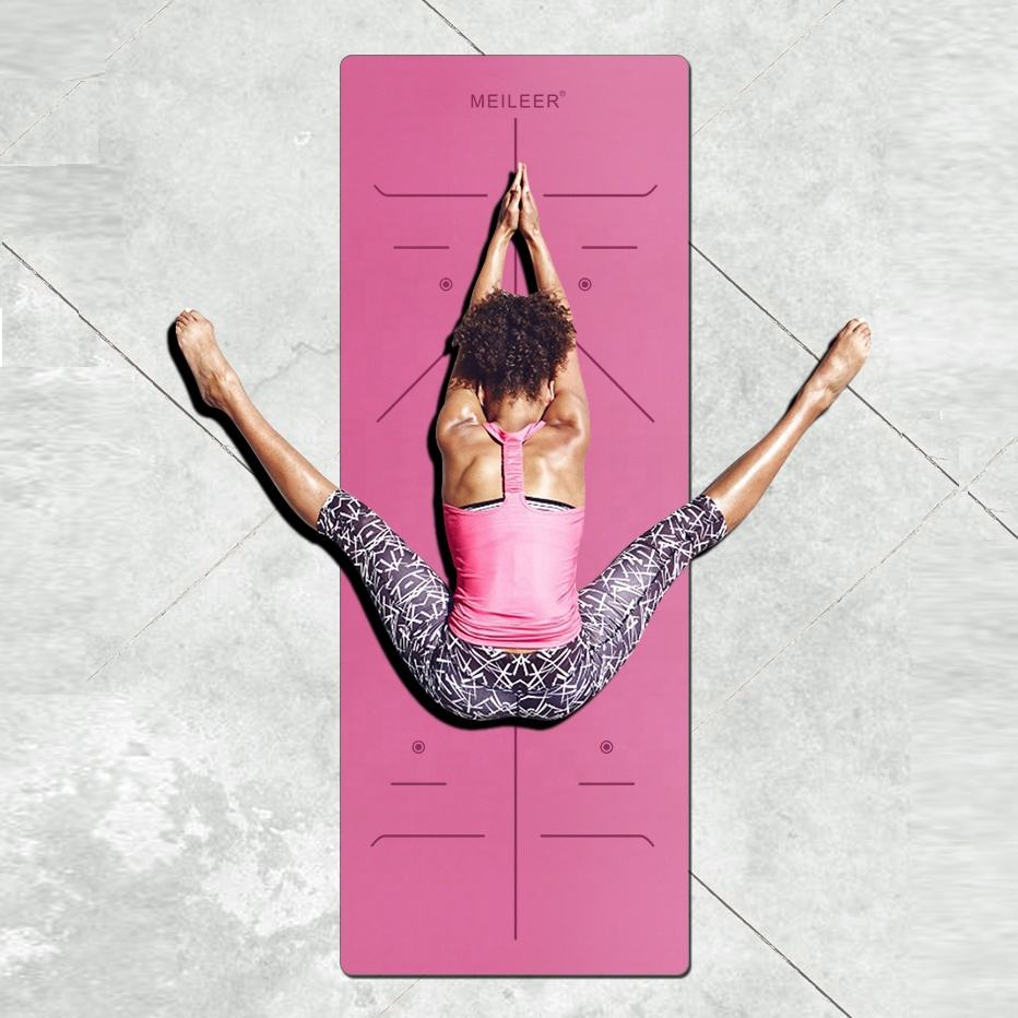 Private Label PU Natural Rubber Yoga Mat with Alignment Body Lines, Super Grip Non-Slip, Black, Pink,Blue,Grey