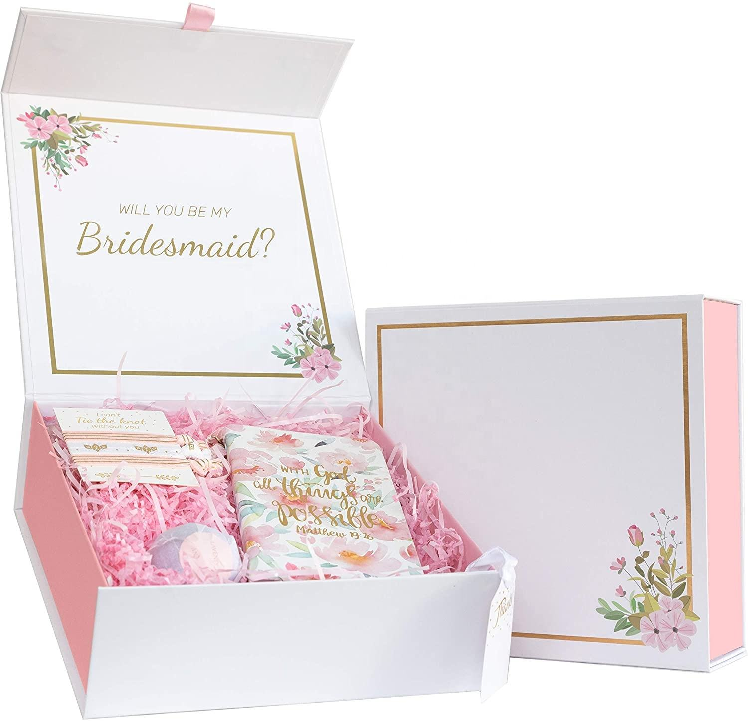 Pink floral bridesmaid proposal box elegant high end boxes will you be my bridesmaid