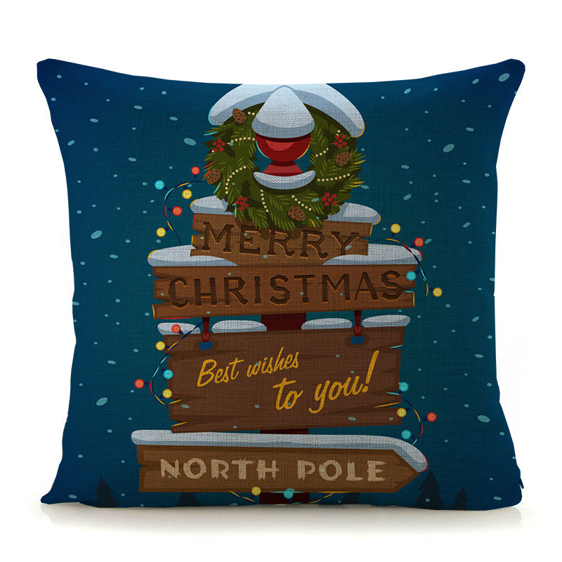 Amazon Hot sale holiday Christmas pillow Santa Claus printing pillow indoor decorative Linen Pillow