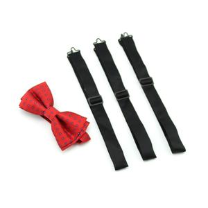 Eco-friendly Silver Buckle Classic Solid Color Durable Polyester Satin Woven Black Bow Tie Straps