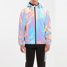 2020 New Arrival Custom Wholesale Full Zip Iridescent Reflective Mens Windbreaker Rainbow Jacket with Hood
