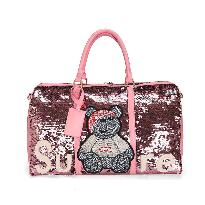 customised Large duffle bag cartoon leisure sequins leather PU travel bag for men