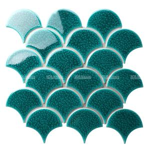 Hot Sale Ice Crackle Deco Mosaic Fan Shaped Fish Scale Tile Green Ceramic For Kitchen Backsplash Shower Wall Accent Project