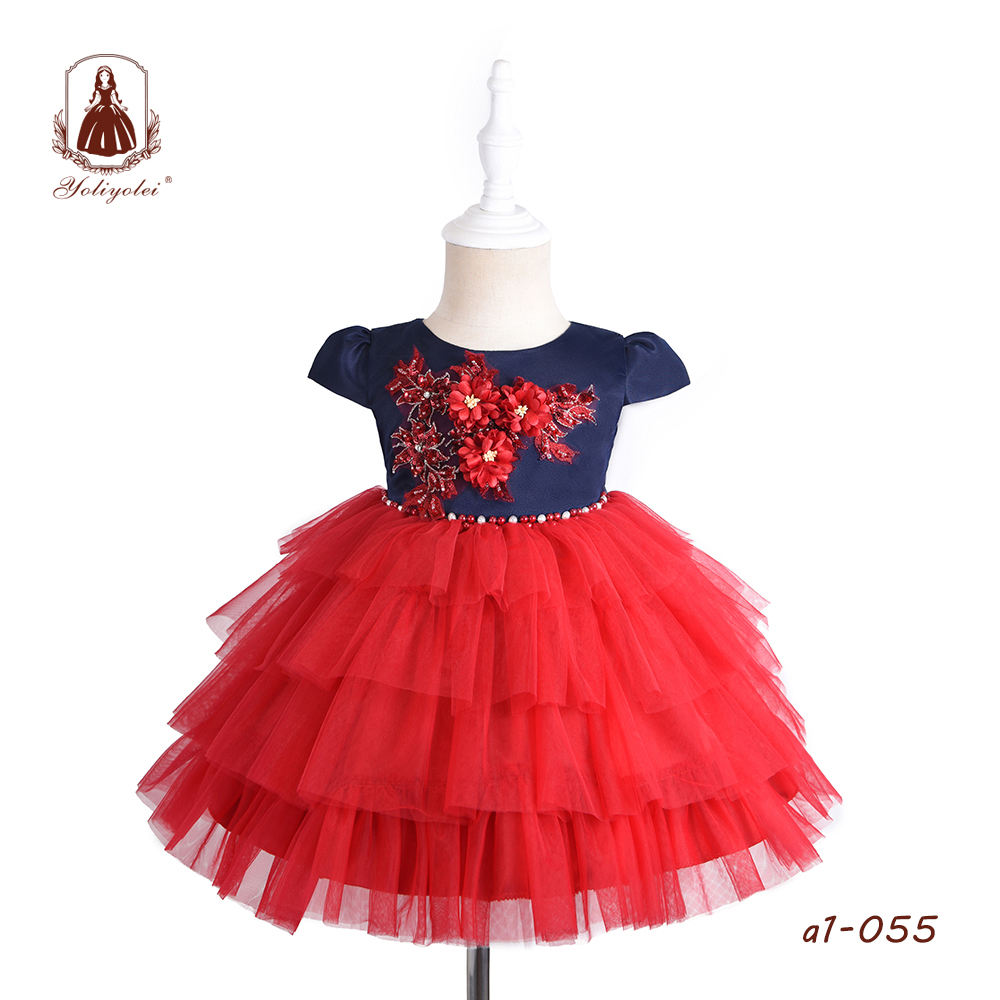 Children Costume Stitching Color 1 Year Baby Girl Dress Long Frock With Red Flower