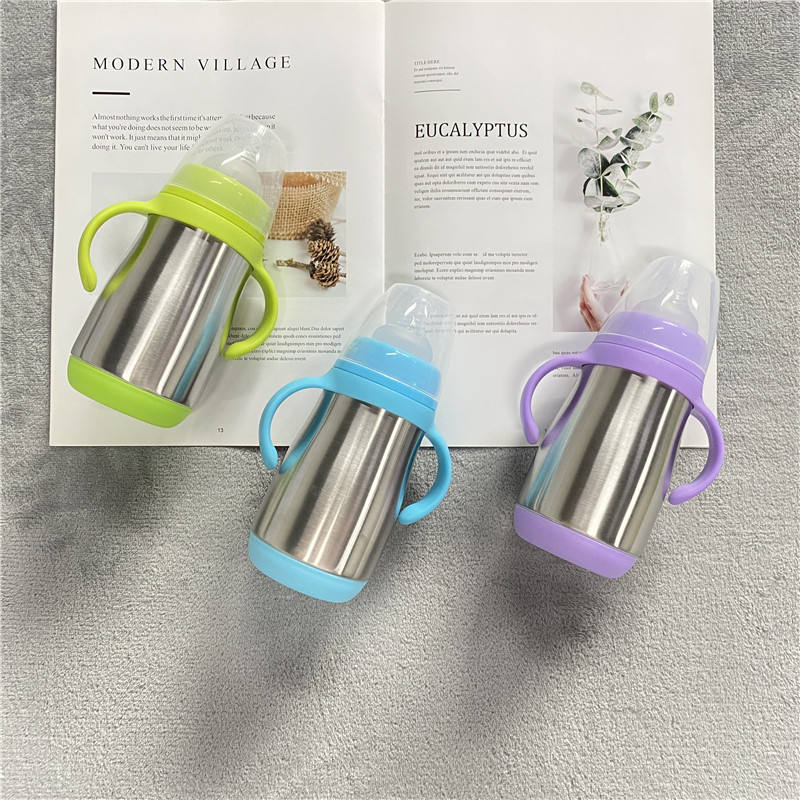 Unbreakable high quality 280ml soft silicone/PP baby training Toddler Sippy cup with double handles Stainless Steel tumbler