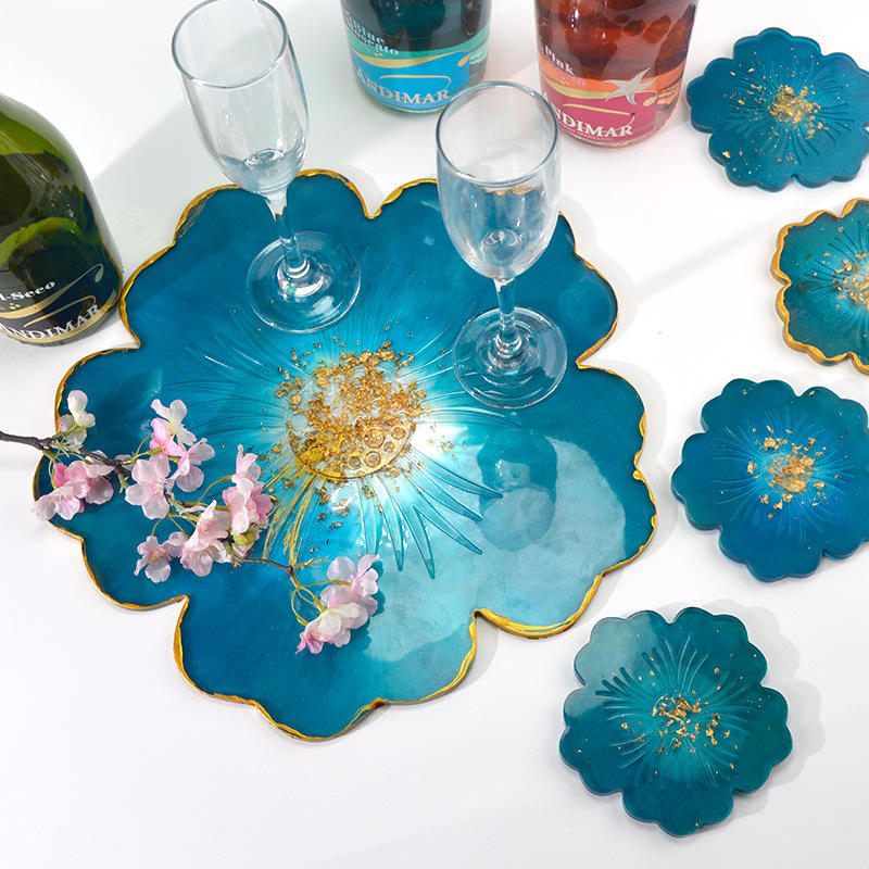 Flower DIY mirror silicone flower petal compote crystal epoxy tea set with tray silicon coaster moulds