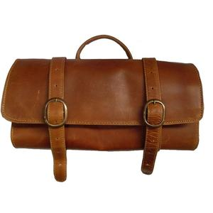 Custom vintage hanging leather mens toiletry travel bag