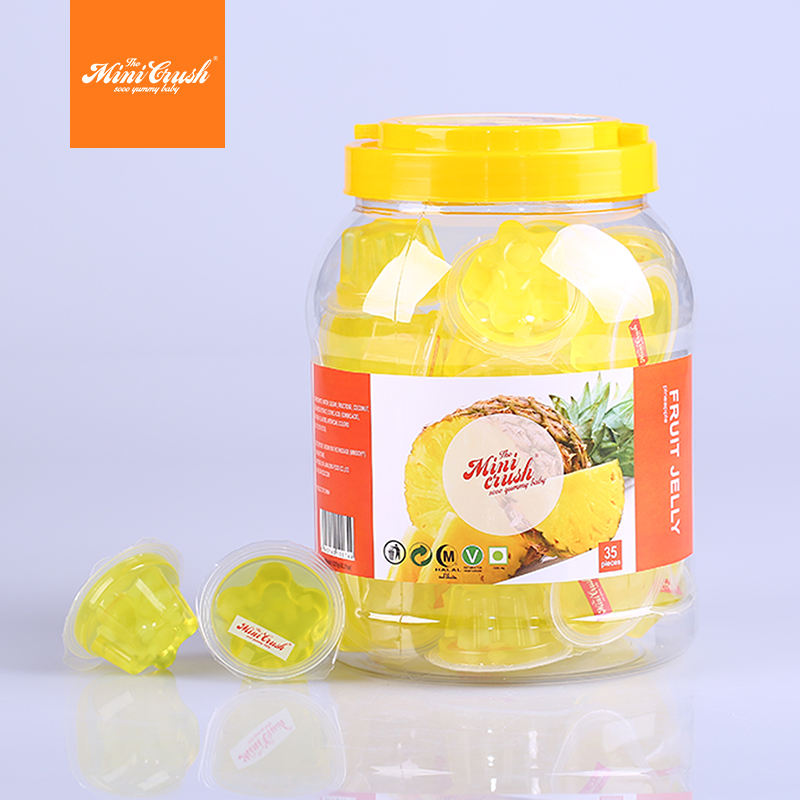 Hot sale in South America mini cup fruit jelly 100pcs in round jar