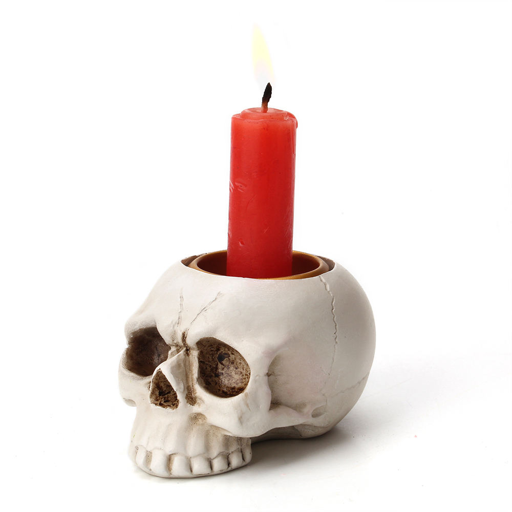Creative Gift Custom Resin Crafts White Color Halloween Mini Skull Candle Holder