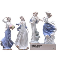 wholesale elegant porcelain beautiful western girls figurines for gifts
