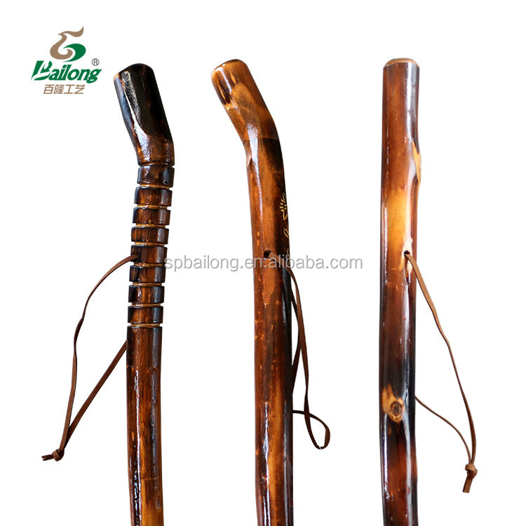 15 years factory custom design popular 122cm varnished camping wooden hiking pole walking stick