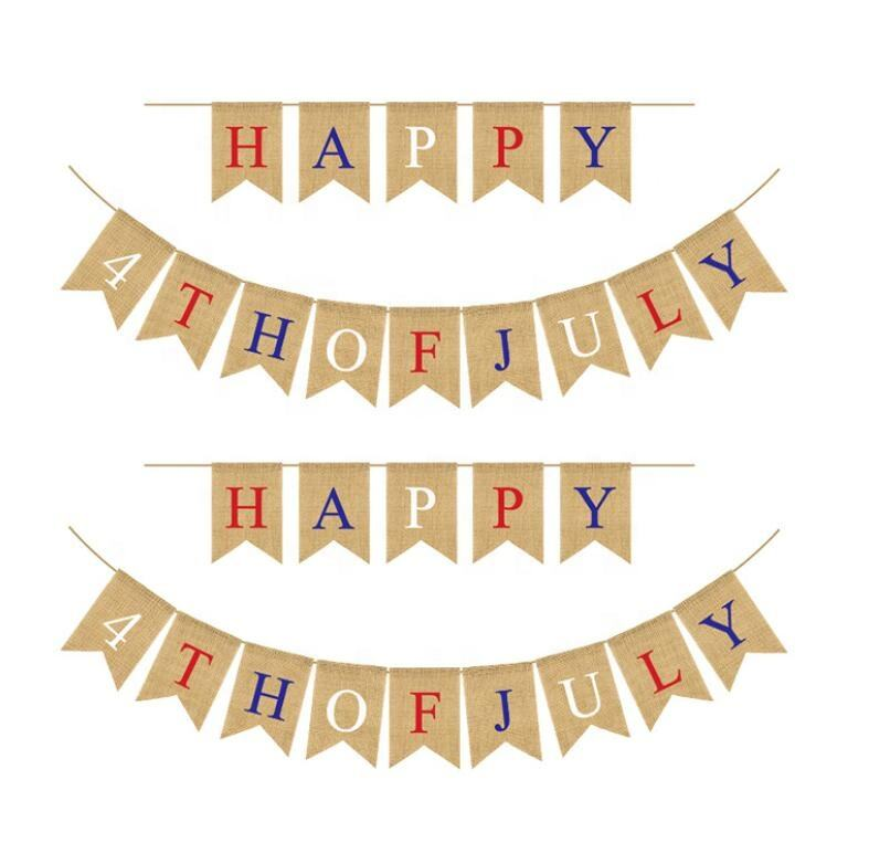 USA String Flags Party Hanging Decor Burlap Banner Garland Buntings Dovetail Jute Happy 4th Of July DIY Independence Day Banner