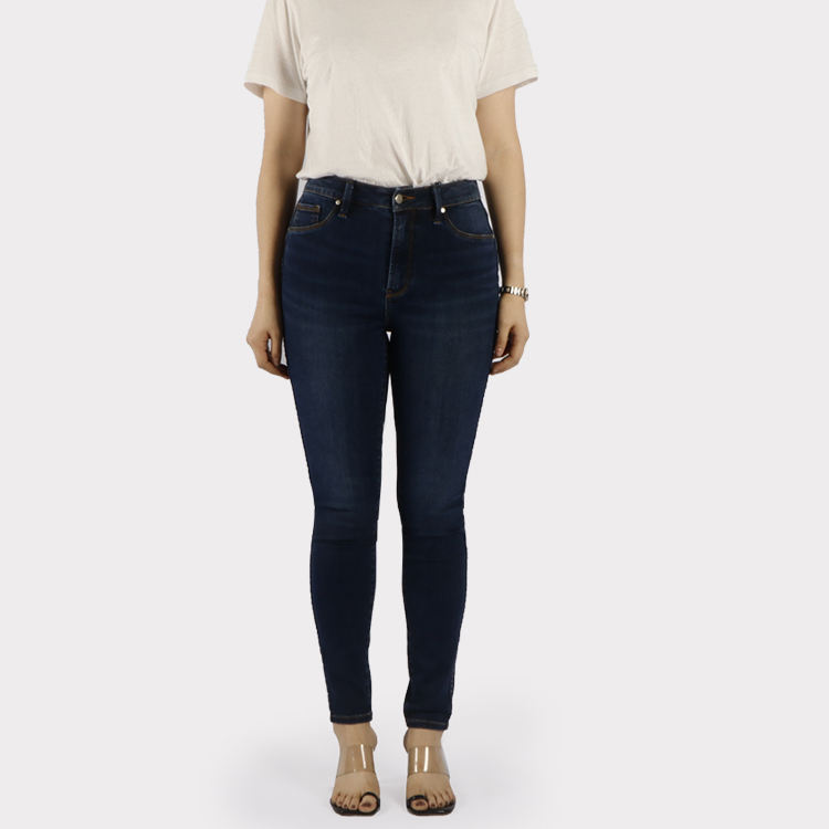 Casual Wear Basic Five Pockets Style Dark Natural Washed Blue High Waist Elasticity Skinny Jeans