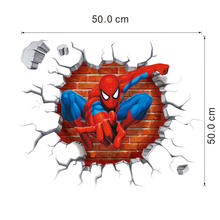 3D Spiderman Wall Stickers Home Decoration adesivo de paredes Kids Room Decal 3D Movie Cartoon