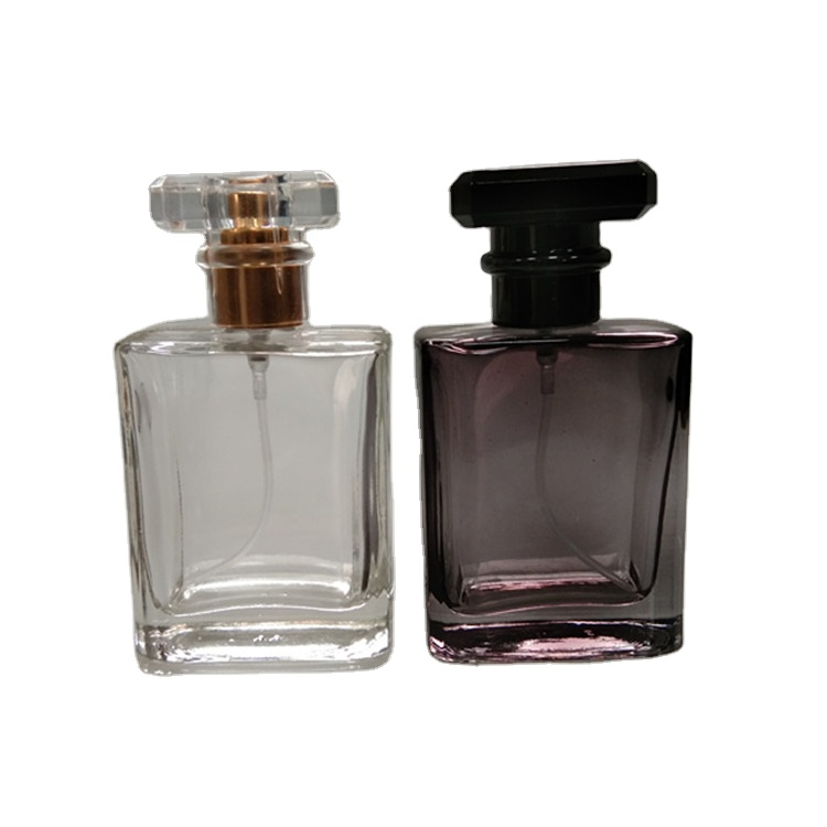 wholesale 50ml black colour glass perfume bottle with spray cap