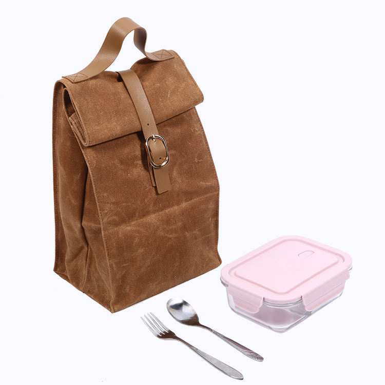 Fashion Design Reusable Cotton Canvas Picnic Lunch Cooler Satchel Bag