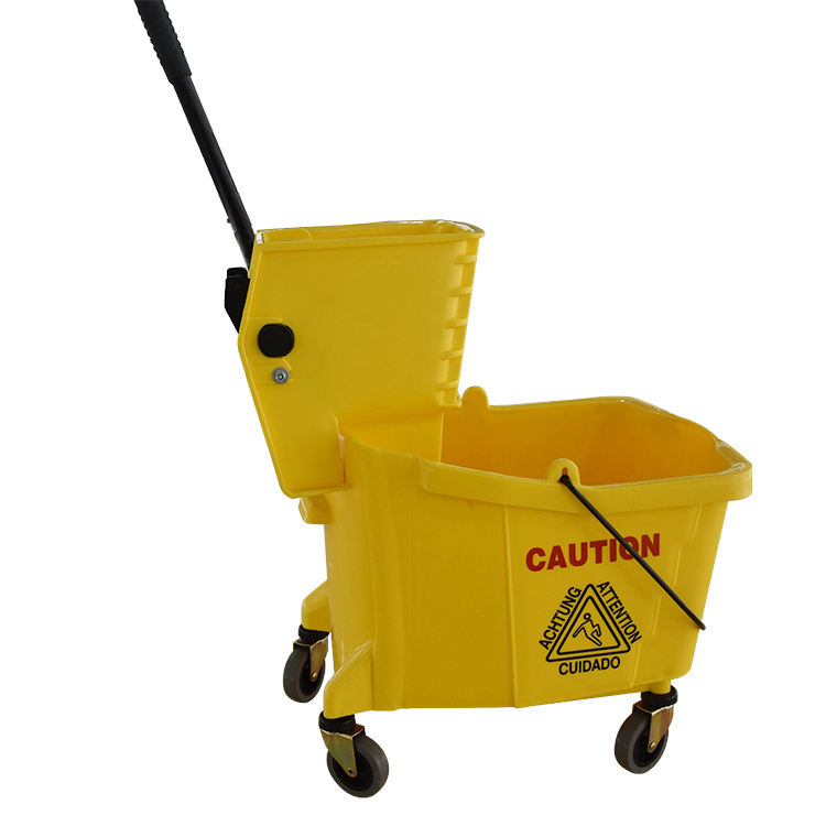 Plastic cleaning squeeze mop bucket with wringer