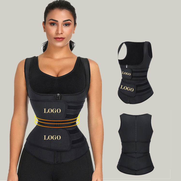 Groothandel vrouwen afslanken tummy controle body shaper dubbele riem private label latex shaper taille trainer vest