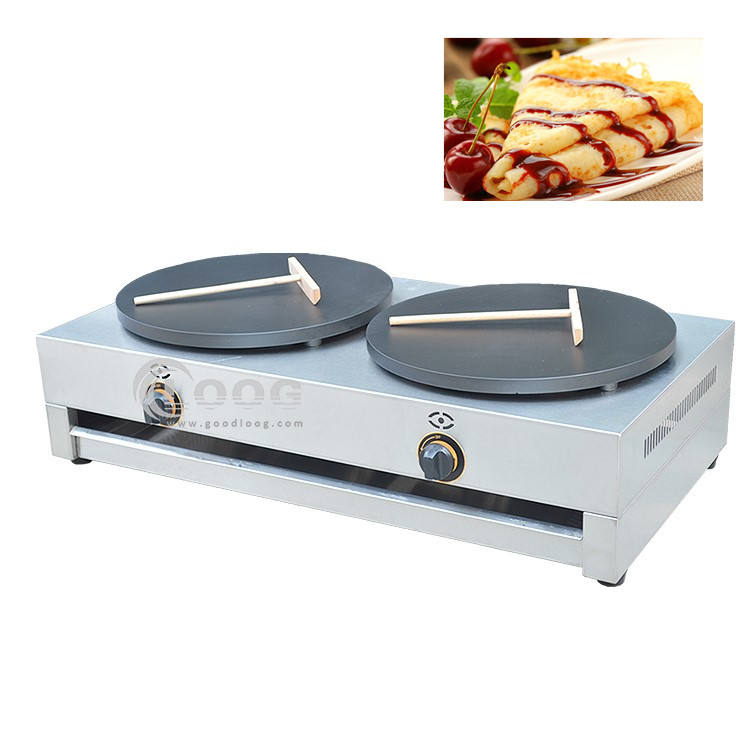Model Panas Komersial Besi Cor LPG Gas Crepe Machine Industri Ganda Piring Crepe Maker Harga