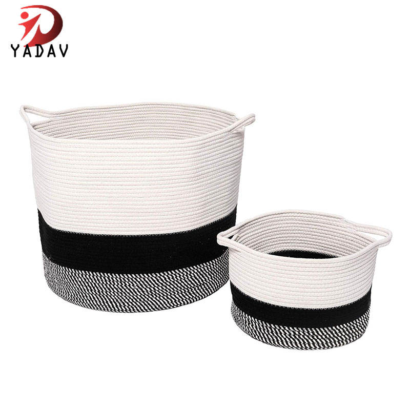 Large Cotton Rope Storage Basket for Baby Laundry Hamper, Woven Nursery Decorative Room Baskets
