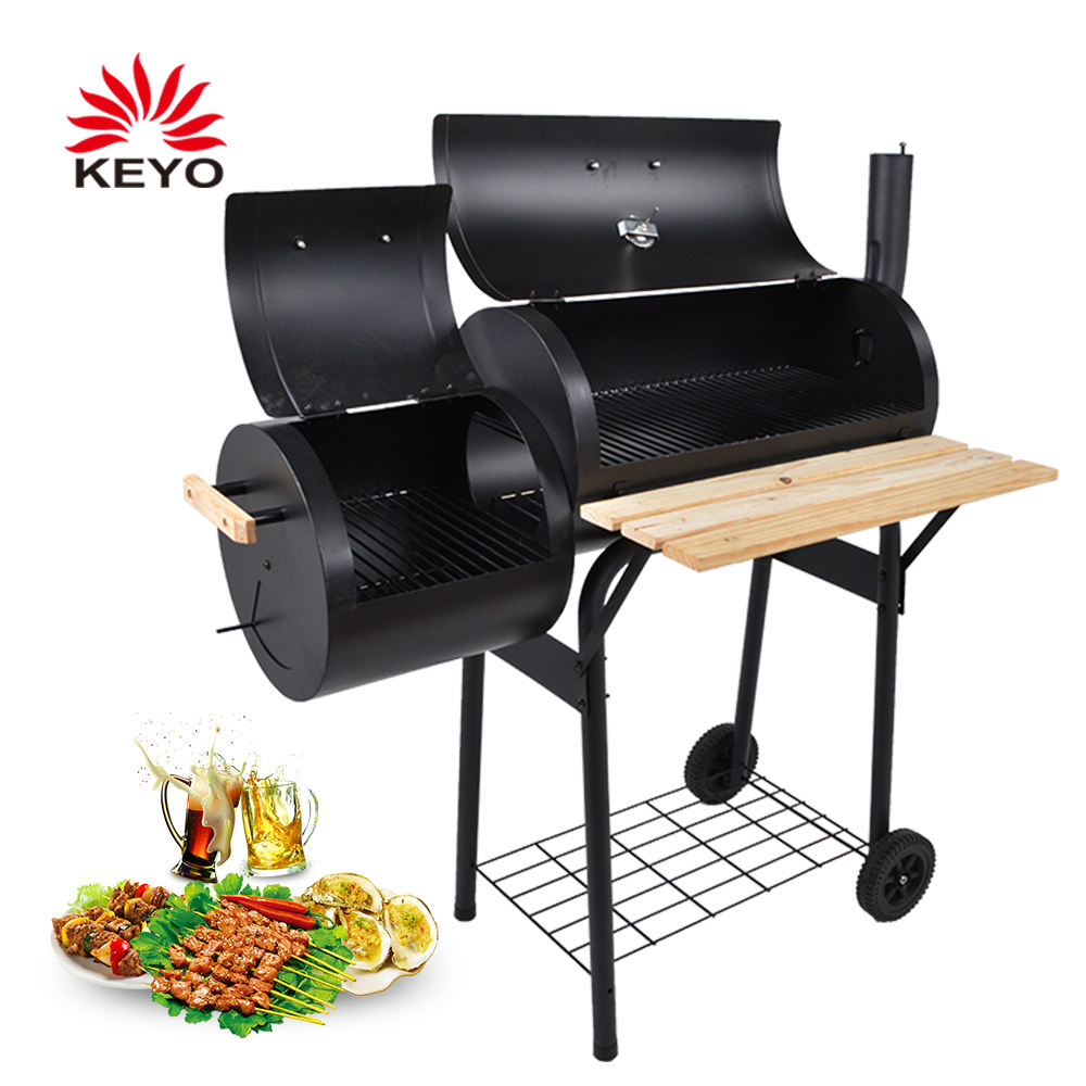 Large Cooking Area Barbecue Smoker Drum Charcoal Bbq Grill Offset Smoker
