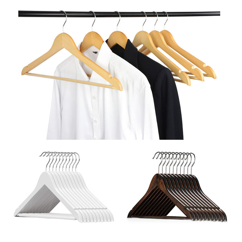 Antique Wooden Hangers Wooden Hangers In Natural White Black Cherry Antique Color Suit Clothes Wood Hanger With Non Slip Pants Bar